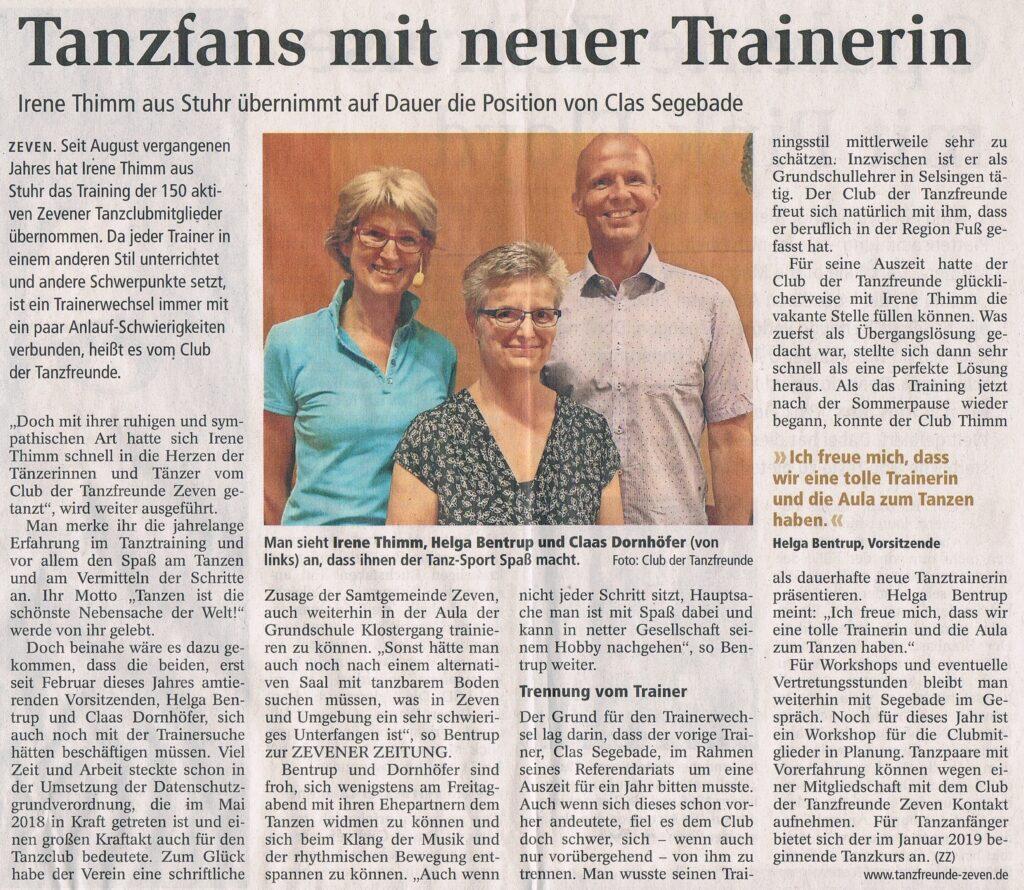 Zevener Zeitung: 01.10.2018